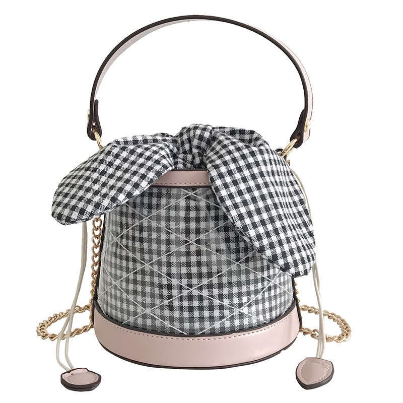 2019 New Korean Version PVC Style Female Fashion Bag Barrel Checker2019 New Korean Version PVC Style Female Fashion Bag Barrel Checker