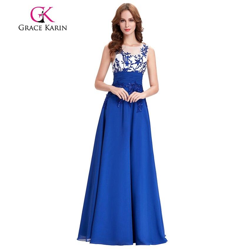 Gnade Karin Lange Prom Kleider 2018 neue ankunft perlen sequin sleeveless  Abendkleider königsblau spezielle gelegenheits-kleid party kleid