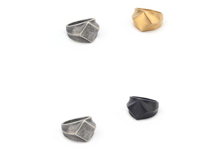 Classic Stainless Steel Black Square Ring