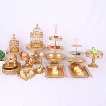 gold wedding cake stand set 6 pcs-18pcs pieces cupcake barware decorating cooking tools bakeware party dinnerware