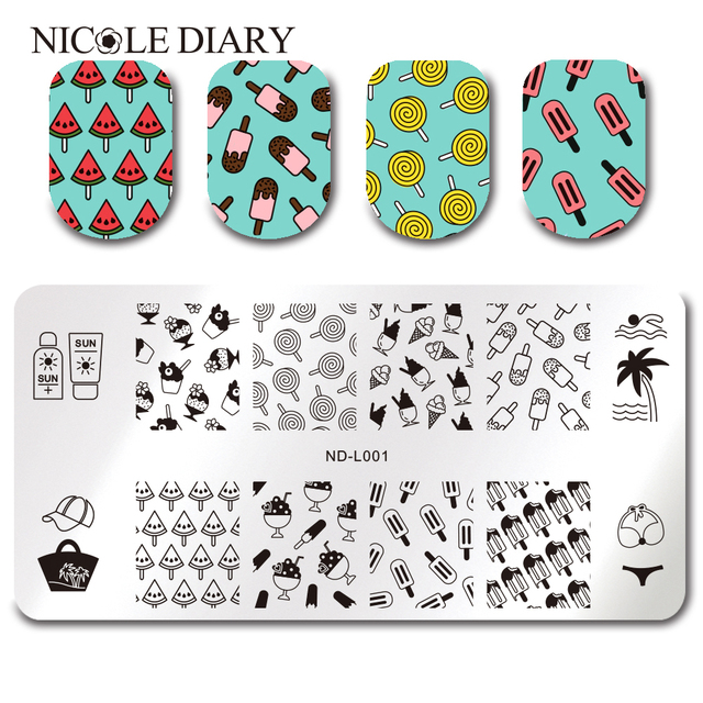 nicole diary summer beach ice cream stamping template rectangle