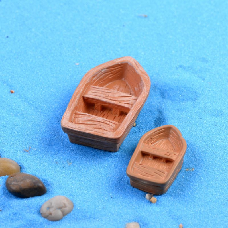 1Piece Mini Boat Brown Color Mini Cute Fairy Garden Ornaments Figurine Miniature Decoration Pastoral Pots Decor