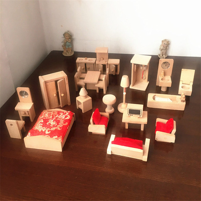 Us 26 14 49 Off Miniature Dollhouse Furniture Toy Sets For Dolls House Wooden Furniture Pretend Play Toys Children Kids Educational Girls Gifts In