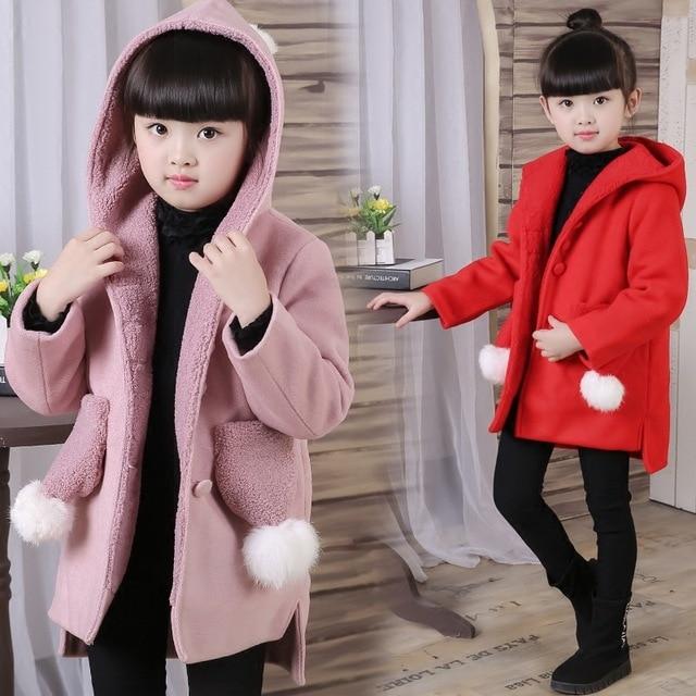 2016 Autumn Winter Fashion Girls Wool & Blends Clothing Baby Outerwear Coats Windbreaker Warm Jacket Children's Kids Clothes