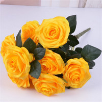 Gelb Rose Künstliche Blume Bouquet Floral Bouquet Hochzeit Wohnkultur Gefälschte Blume 10 Köpfe Rose Bündel-in Künstliche & getrockneten Blumen aus Heim und Garten bei