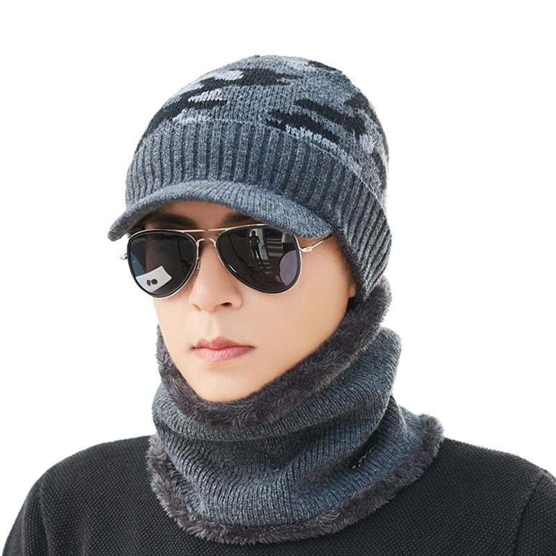 Skullies     Beanies   Men Knitted Hat Cap Male Scarf Gorras Bonnet Warm Wool Plus Thick Winter Hats For Men Women Balaclava Bone