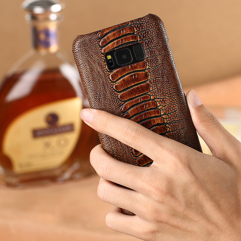 Natural Cowhide Phone Case For Samsung Galaxy S6 S7 Edge S8 S9 Plus J5 J7 A5 A8 2017 Note 8 9 Ostrich Foot Texture capa