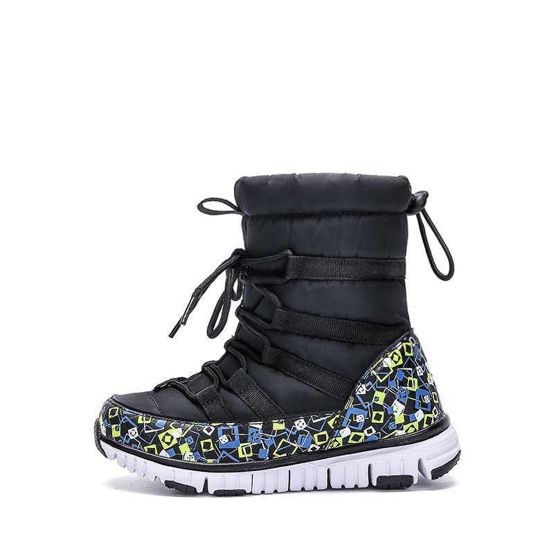 ... ULKNN 2018 Winter Boys Waterproof Boots Kids Cotton Warm Snow Boots  Children Shoes Soft Non- ... efc95ec3f87f