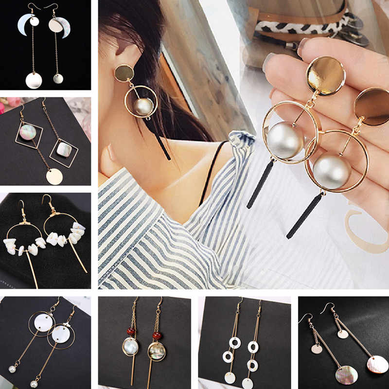 Long Earrings for Women Tassel Simulated Pearls Dangle Drop Shell Geometric Statement Earring Fashion Jewelry Brincos Promotion