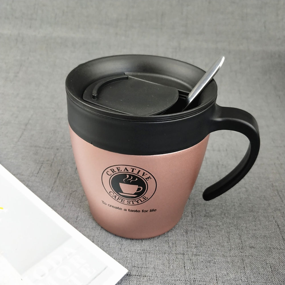 Coffee Mug Thermos Stainless Steel Insulated water Cups Tumbler with Handle lid Mixing Spoon Office travel coffee cup for Couple