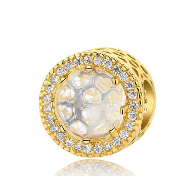 Cuenta en plata esterlina 925 Original colgante cadena de seguridad encantos de cristal brillo Color oro ajuste Pandora pulseras DIY joyería