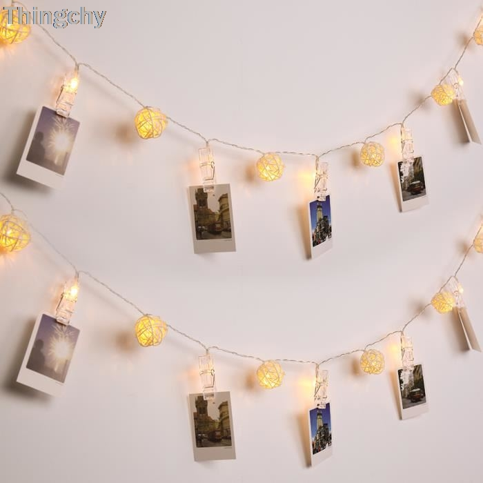Luminous 40led warm white string Fairy lights rattan ball and photo pegs for Wedding party Garland Decoration Home Decor