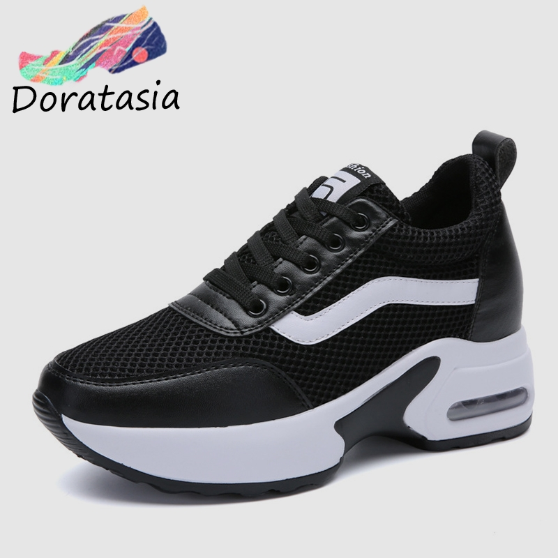 DORATASIA Elegant Height Increasing Sneakers Women Spring Genuine   Leather     Suede   Ladies Platform High Shoes Woman