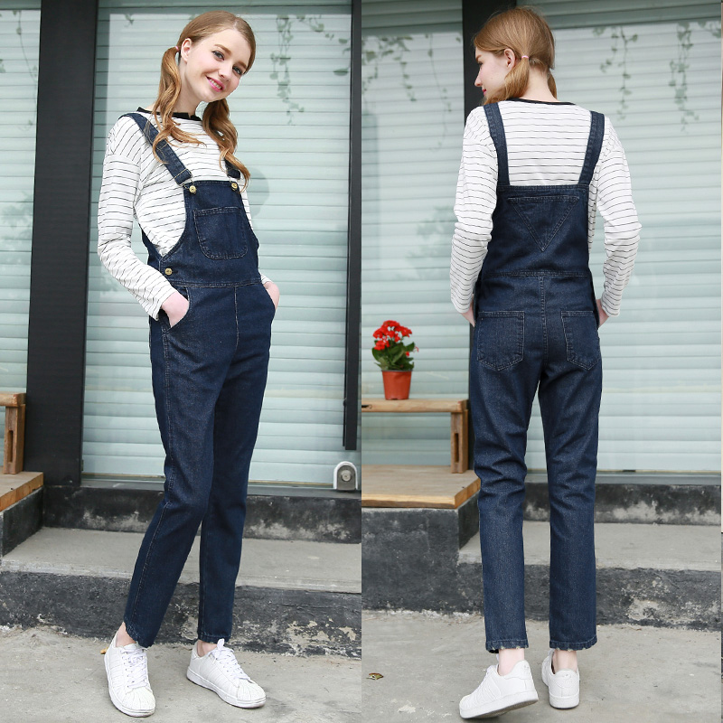 2016 Spring Denim Jumpsuits Women s Overalls Long Pants 5 Colors Ladies Jeans Gallus Rompers Female