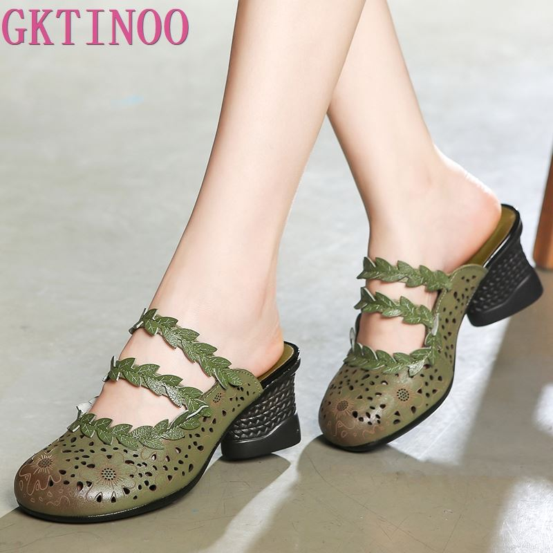 GKTINOO Cowhide Flower Shoes Women Genuine Leather Sandals Fashion Slippers Thick with High Heels Sandals 2020 New Summer Shoes