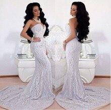Neue Ankunft schatz Nude Inneren Sexy Sheer Spitze Prom Kleider Lange Weiße Meerjungfrau Abendkleider