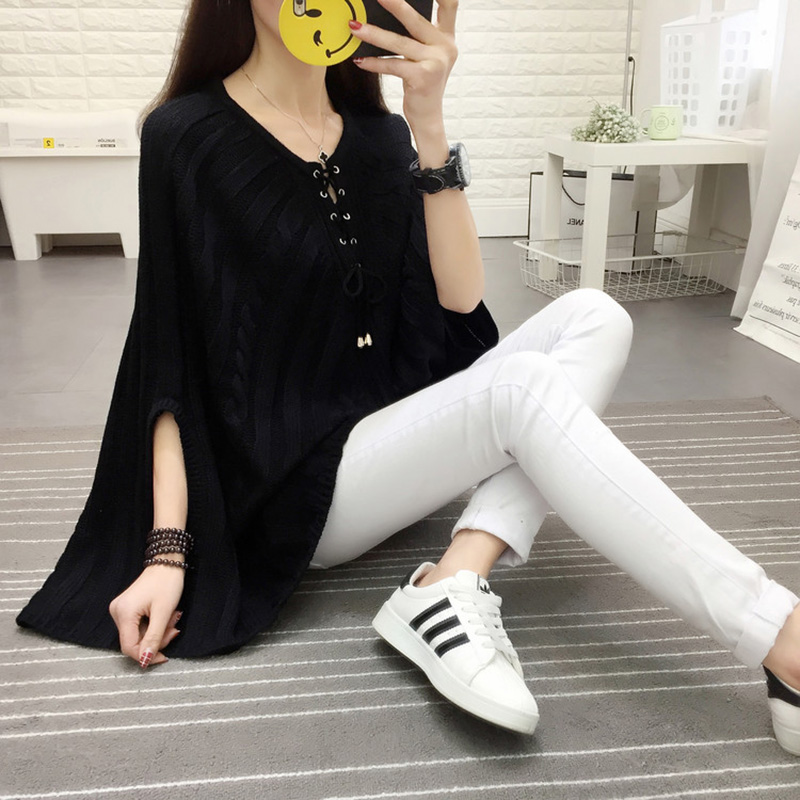 Bat Shirt Sweater Female Autumn Long Loose Cloak 2018 Korean Fashion Women Head Large Size knitting Sweater Spring tops XY508