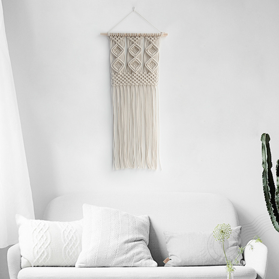 Bohemian Macrame hand woven simple home hang up living room wall ...