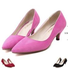 Flock Med heels valentine shoes for women 2016 stiletto 5 CM women shoes Low heels pumps