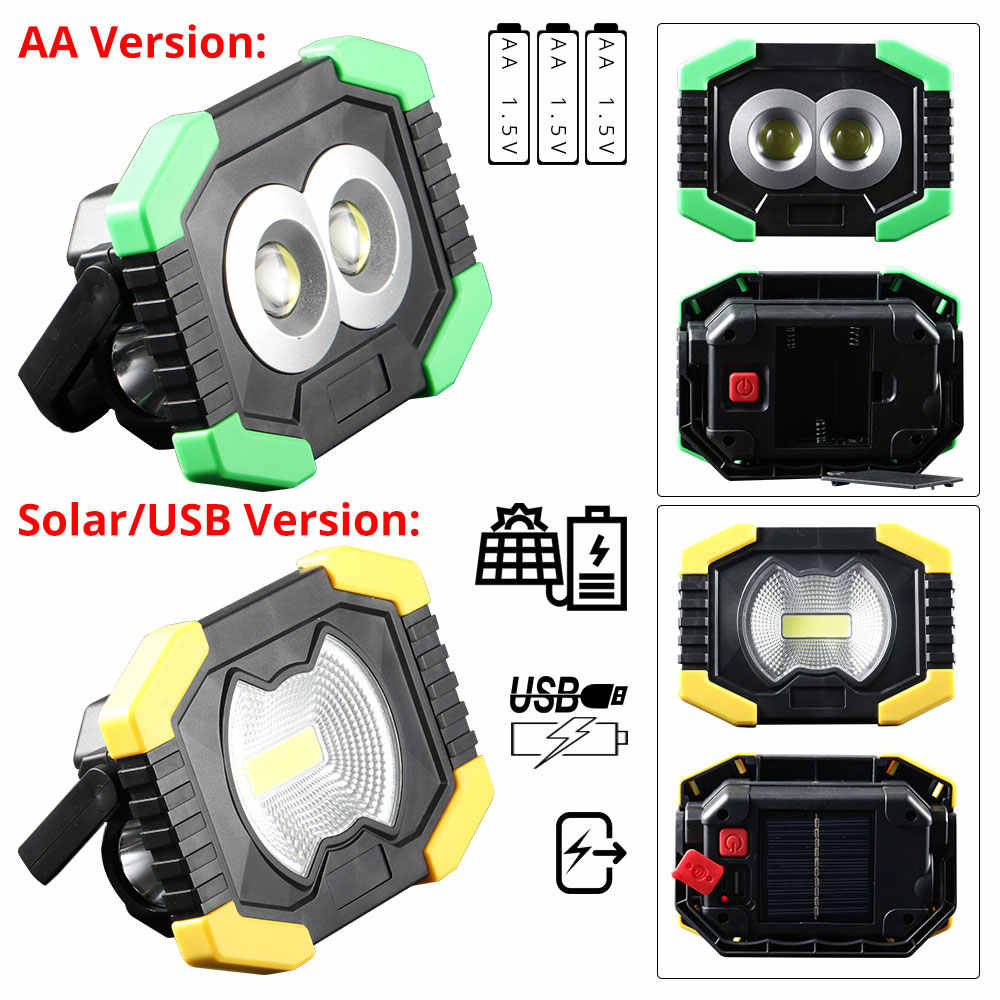 80W Led Portable Spotlight Solar Led Work Light Rechargeable 18650 or AA Battery Outdoor Lamp COB Floodlight Tent Lantern Repair