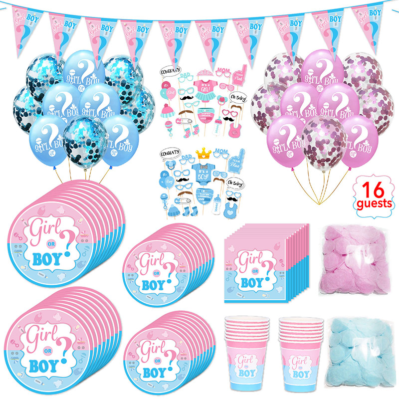 Disposable Tableware Set Happy Birthday Decoration Supplies Baby Gender Reveal Party Paper Plates/Cups/Napkins/Balloon / Banner