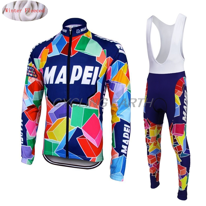 2019 MAPEI Cycling Winter Thermal Fleece Clothes Set Men Warm Jersey Jacket Clothes Wear Bicycle Bib Pants Maillot Ropa Ciclismo