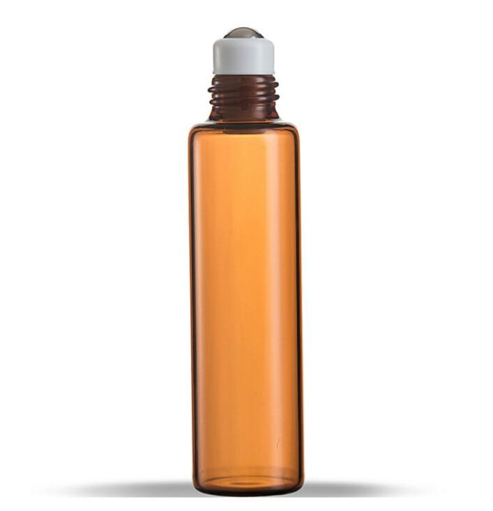 10 ML AMBER Bruin Dikke Glazen Roll Op Essentiële Oliën Fles Metalen Rollerball