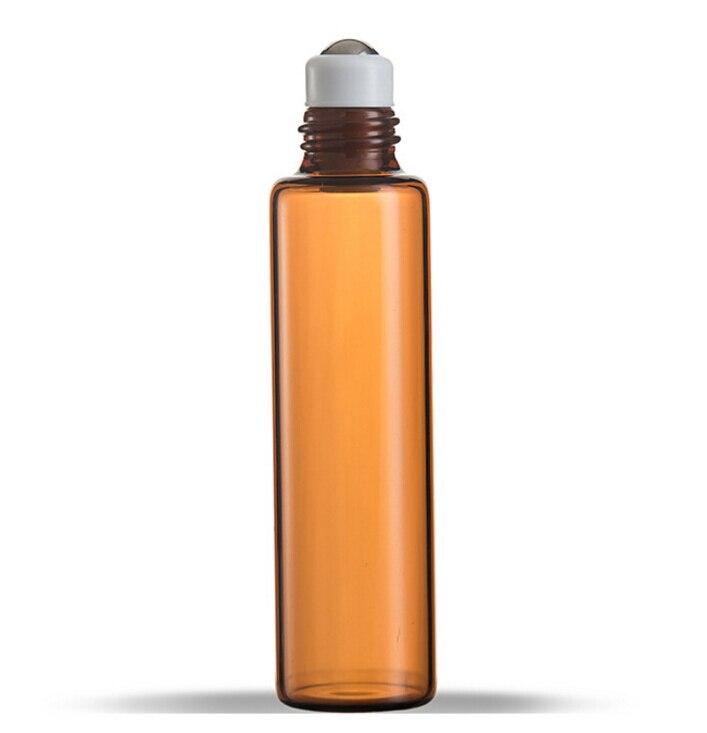 Rouleau de verre épais brun ambre 10 ML sur bouteille d'huiles essentielles boule de rouleau en métal