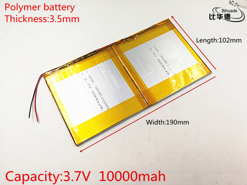 35102190 3.7V,10000mAH (polymer lithium ion battery) Li-ion battery for tablet pc 9 inch 10 inch 10.1inch 35102190 Free Shipping 3 7v 5500mah li ion polymer lithiumion battery for 7 8 9 inch tablet pc icoo d70pro ii onda sanei 4 5 79 97mm free shipping