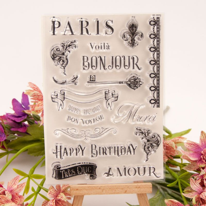 Happy Birthday Flower Silicone Clear Seal Stamp DIY Scrapbooking Embossing Photo Album Decorative Paper Card Craft Art Handmade Gift