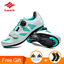 где купить Santic 2017 Women's Cycling Shoes Lace-up Lady Bike Sneakers Road Bicycle Shoes Athletic Racing Bicycle Shoes for Riding Sports по лучшей цене