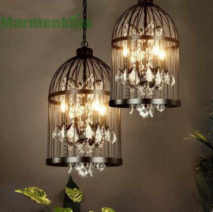 Black retro crystal bird cage pendant lamp creative personality clothing shop bar restaurant cafe light,E14*4.