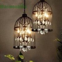 Black retro crystal bird cage pendant lamp creative personality clothing shop bar restaurant cafe light,E14*4.