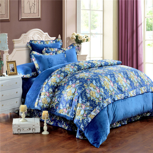 Enjoyable Us 75 0 Shabby Chic Comforter Sets Yellow And Pink Rose Flowers Duvet Cover Luxury Housse De Couette Classical Bed Linen Blue Bedding In Bedding Home Remodeling Inspirations Basidirectenergyitoicom