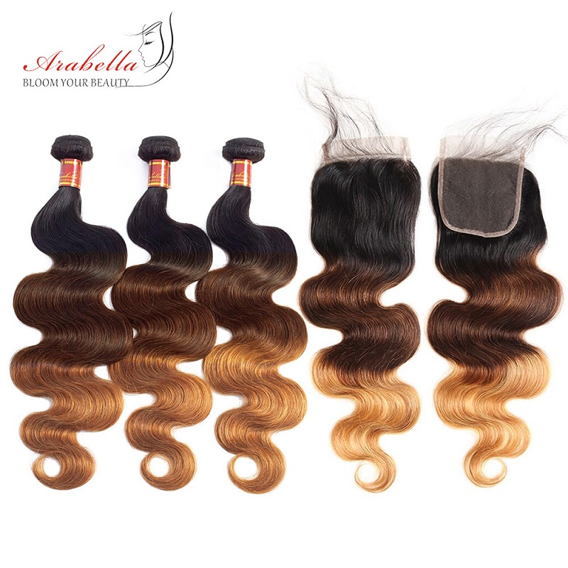 Arabella Malaysian Hair Bundles With Lace Closure 1b/4/27 Body Wave 100% Remy Human Hair 3 Bundles Hair Weave With Lace Closure