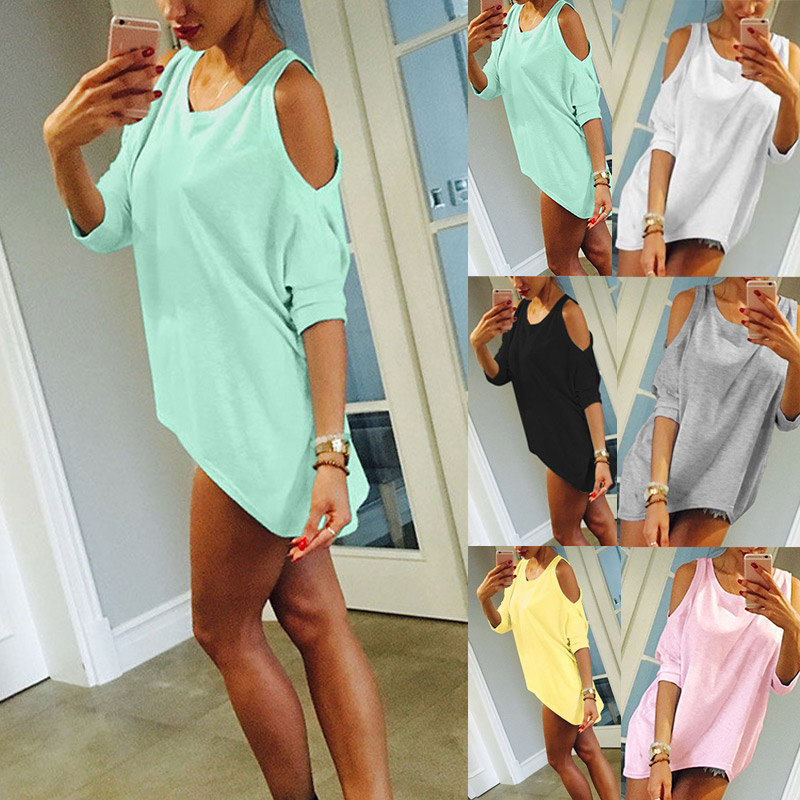 Half Sleeves T-Shirt Off Shoulder Lady Girl Loose Tops Casual Tee Long Shirt