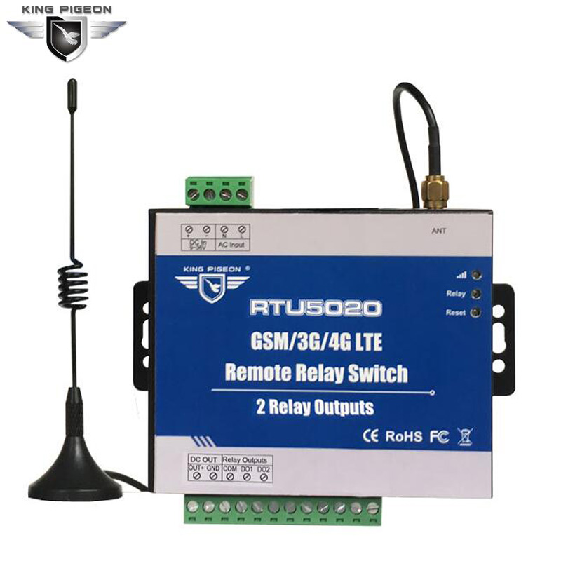 RTU5020 GSM 3G 4G SMS Remote Relay Switches(2 Relay Outputs) For Remotely Switch ON/OFF Devices Street Light Control