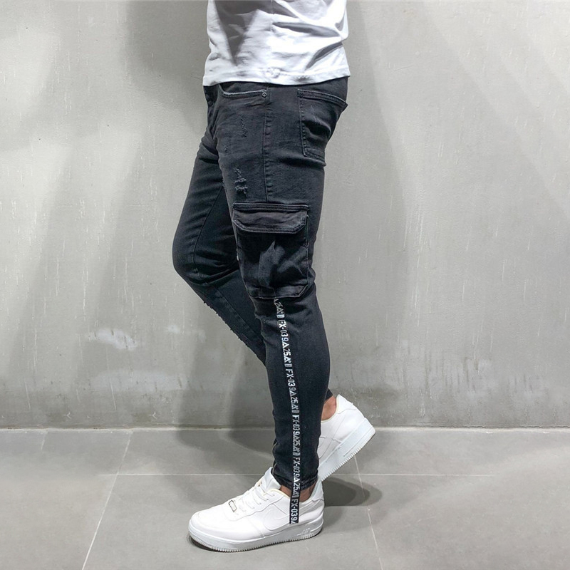 Skinny Jeans Swag Motorcycle Streetwear Pants Cargo-Trousers Zipper Denim Slim For Men
