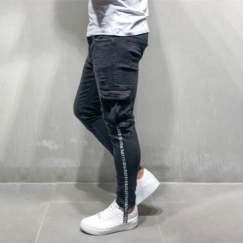 Skinny   Jeans   Men Multi-pocket zipper Slim Cargo trousers for Men Motorcycle Hip hop Streetwear Swag Denim Pants