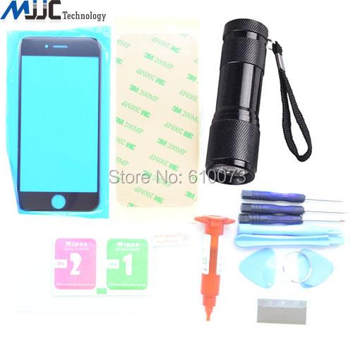 """Mjjc black kit de substituição de vidro dianteiro para iphone 6 6 s 4.7 """"Kits de Reparo de Outer Lens Tela + UV Cola + 9 LED UV Tocha"""