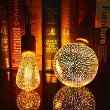 Novidade 3d efeito de fogos de artifício lâmpadas incandescentes vintage retro edison lâmpada e27 110 v-220 v decoração luzes a60 st64 g80 g95 g125