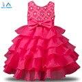 2016 Новый Бренд Платье Девушки Летом 3-8 Лет Цветочные Детские девушки Одеваются Vestidos 6 Цвета Свадьба Детская Одежда Бесплатно доставка
