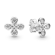2019 New Arrival 925 Sterling Silver Earrings For Women Branded Four Petal Flowes Earring Studs Fine Jewelry Birthday Party Gift недорого