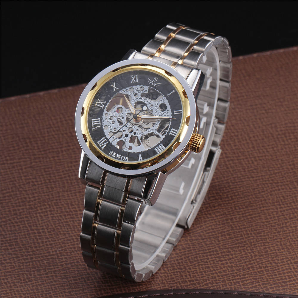 SEWOR Gold Men Skeleton Mechanical Watch Stainess Steel Steel Hand - Relojes para hombres - foto 3