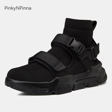High top men sneakers booties fly weaving upper double hook loop buckle super cool punk trendy street youngster combat shoes