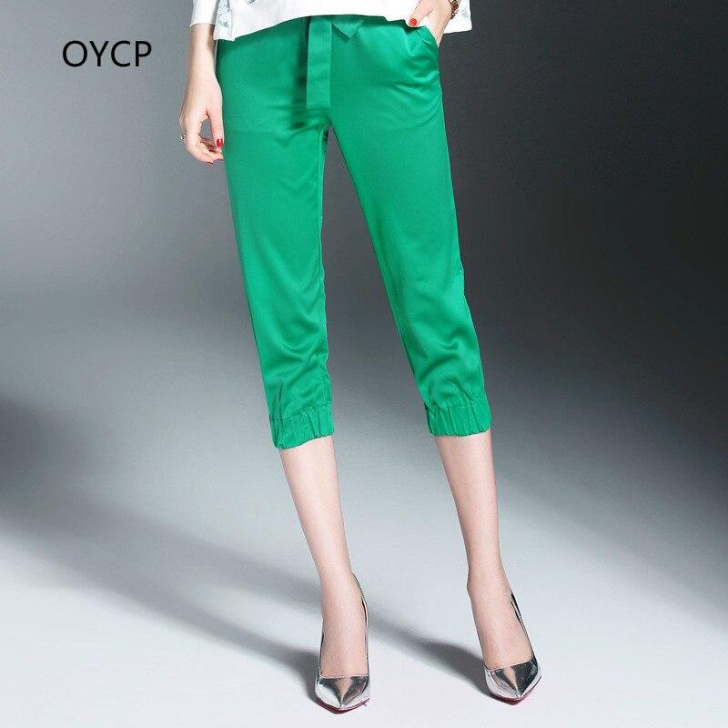OYCP Brand Summer 2017 High Quality Women Clothing OL Leisure Joker Calf- Length Pencil   Pants   Green Black Female   Capris