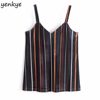 Vintage Striped Velvet Top Strap Camisole Women Crop Top Backless Chic Cami 2018 Sexy Summer Tops