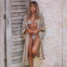 Coton Plage Kimono Femme Couvertures Imprimer Couverture Saida De Banho Para Praia Sarong Robe Tunique