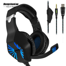 3.5mm Gaming Headset Gaming Headphone Gamer Stereo Headphone Microphone Mic Led Backlit Game Headsets For PC Computer PS4 Phone bass earphone computer mobile phone video game headset detachable microphone for playerunknown s battlegrounds gamer headphone