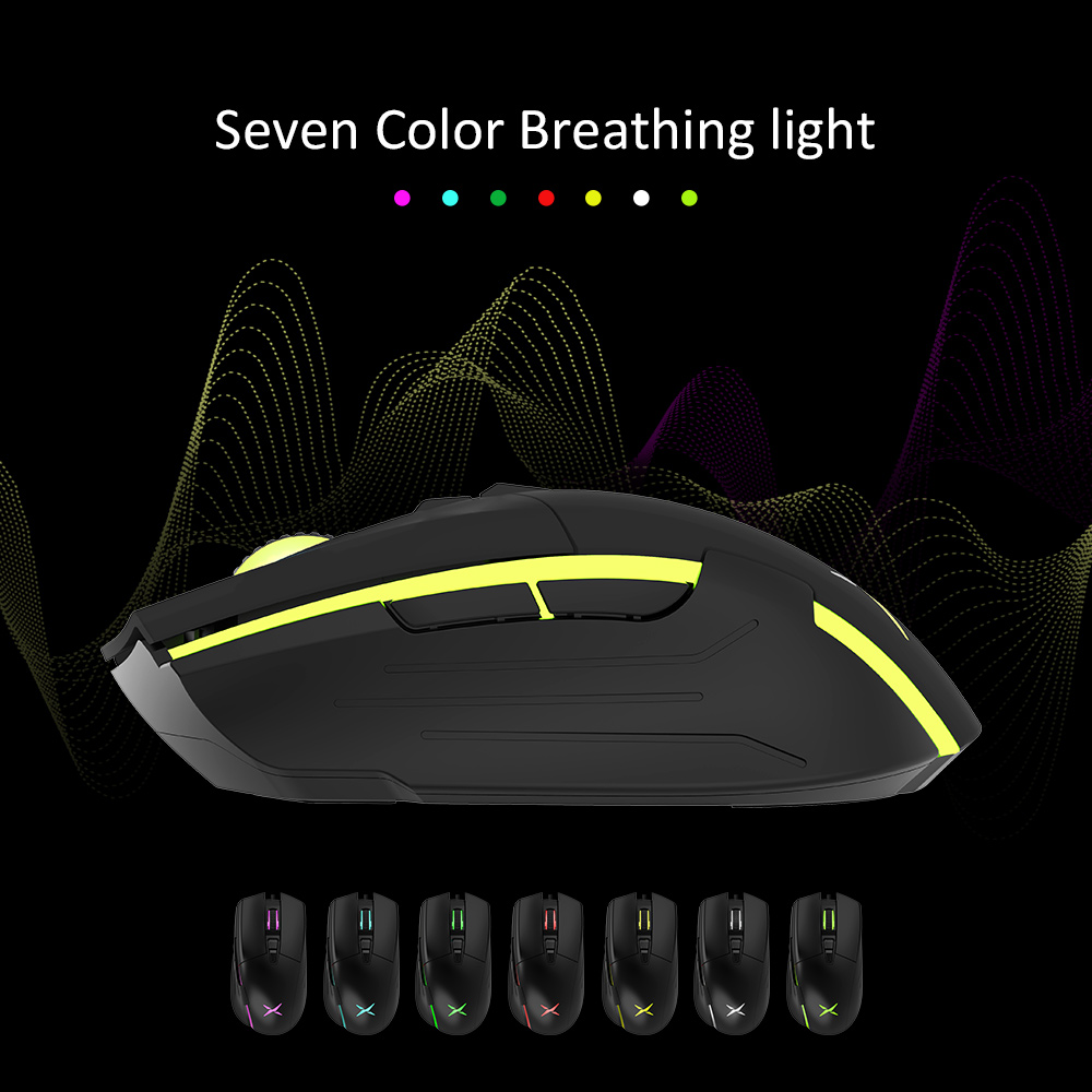 Delux M522 Gaming&Office Dual modes Wired Mouse 6400 DPI 7 Programmable Buttons Skin-like material Mice with Backlight For FPS